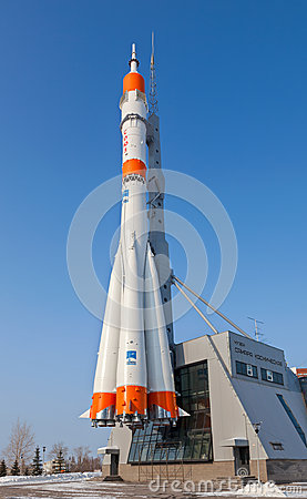 Real Soyuz type rocket as monument Editorial Photography