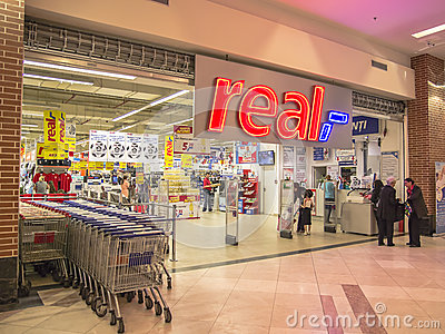 Real Supermarket Entrance Editorial Photo