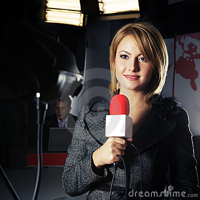 Real Television Reporter in Live Transmission Editorial Photo