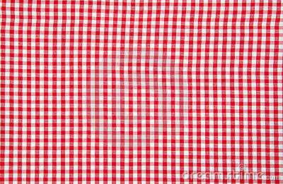 Real white and red tablecloth