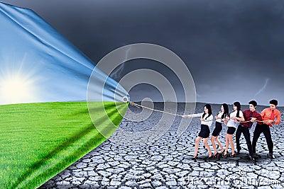 Realidad cambiante del trabajo en equipo del negocio