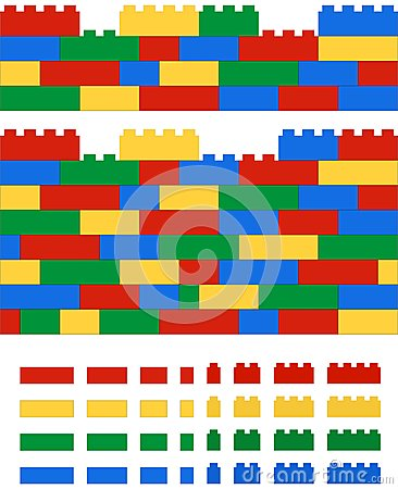 Free Realistic 2D Vector Lego Wall Royalty Free Stock Photo - 50907255