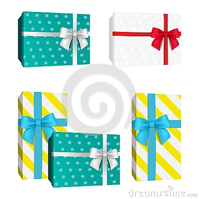 Free Realistic 3D Dotted Pattern Gift Box With Red And White And Blue Ribbon Bows. Vector Presents. Stock Image - 104282241