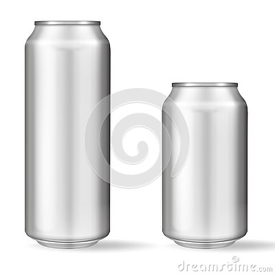 Realistic aluminum can on white background. Mockup, blank can with copy space Vector Illustration