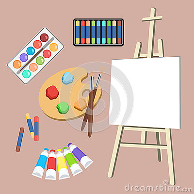 Free Realistic Art Supplies, Set Art Materials. Artist Accessories. Easel, Canvas, Tablet, Pastel, Paint In Tubes, Watercolor Stock Images - 85953334