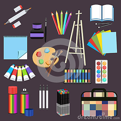 Free Realistic Art Supplies, Set Art Materials. Professional Art Marker, Colored Pencil, Sketchbook, Palette And Brush, Easel Stock Photography - 85953382