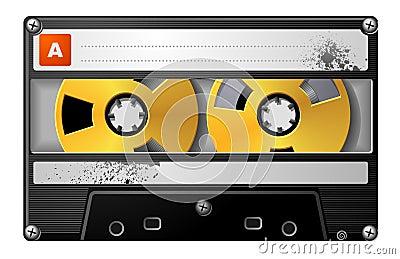 Realistic audio cassette in black case.