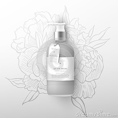 Free Realistic Beige Bottle Of Liquid Soap. Flowers Peonies Background Stock Photos - 92618553