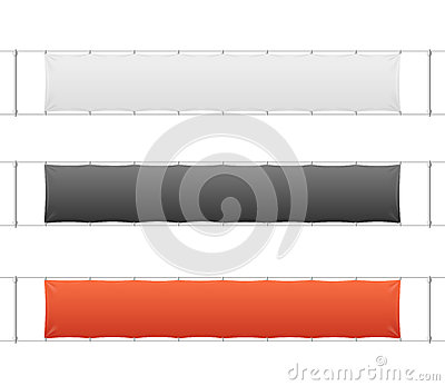 Realistic Blank Banner Textile Set. Vector Vector Illustration