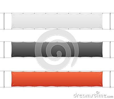 Realistic Blank Banner Textile Set. Vector Vector Illustration
