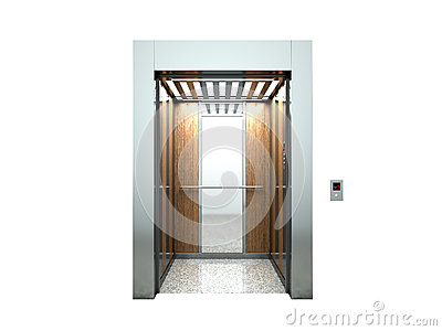 Realistic blank open elevator hall interior with waiting lift 3d Cartoon Illustration