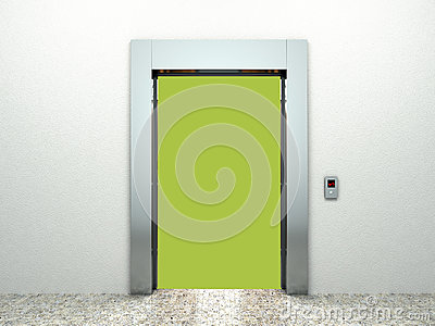 Realistic blank open elevator hall interior with waiting lift ma Cartoon Illustration