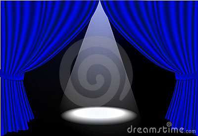 Realistic  blue stage curtains and spot ligh