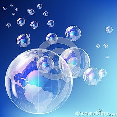 Realistic bubble - earth globe.