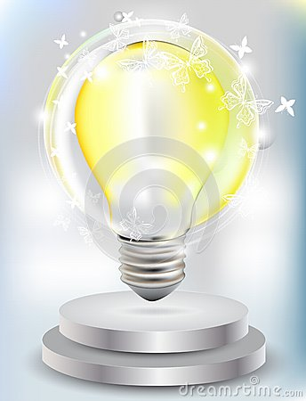 Realistic Bulb with butterfly