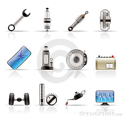 Free Realistic Car Parts And Services Icons Royalty Free Stock Photo - 10882485