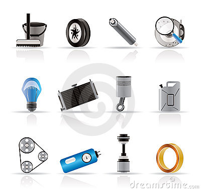 Free Realistic Car Parts And Services Icons Stock Photo - 10882490