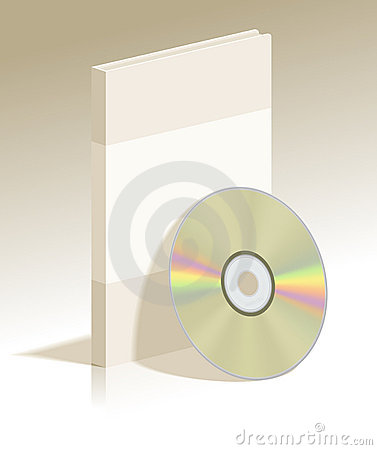 Realistic CD disk and plastic box with soft shadow