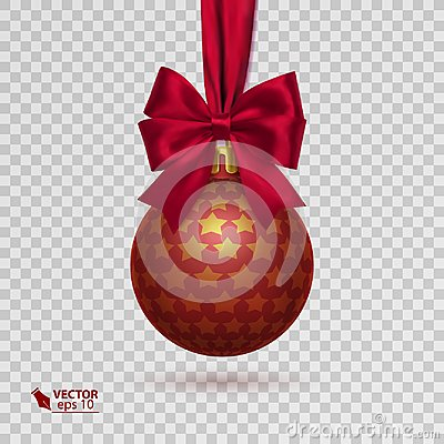 Free Realistic Christmas Ball With Red Ribbon Isolated On Transparent Background Stock Photo - 100747640