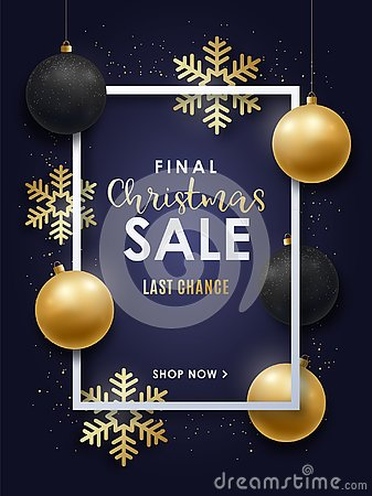 Realistic Christmas design with gold and black Christmas decorations. Vector Illustration