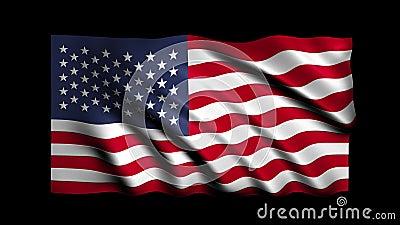 Looping USA Flag Waving Animation stock video