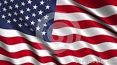 Looping USA Flag Waving Animation stock footage