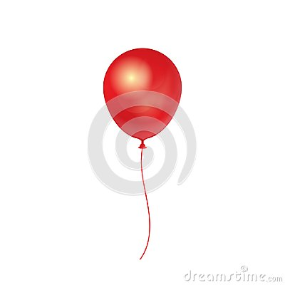 Realistic 3D Red Ballon isolated on white background. Vector illustration. Vector Illustration