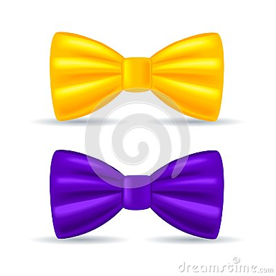 Free Realistic Drawing, Solemn Bow Tie Yellow And Purple Stock Photography - 100415162