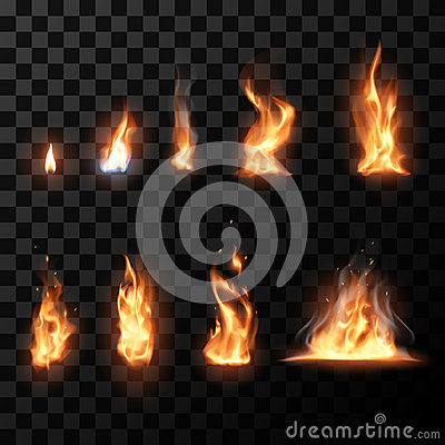 Free Realistic Fire Flames Set Stock Photo - 67468210