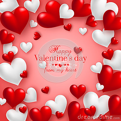 Realistic floating 3D Valentine hearts red background Stock Photo
