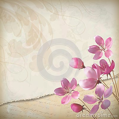 Free Realistic Floral Vector Spring Background Royalty Free Stock Photography - 28975037