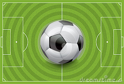 Realistic Football - Soccer Ball on Textured Field