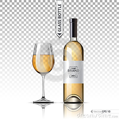 Free Realistic Glass Of White Wine And Bottle Isolated On Transparent Background. Vector 3d Detailed Mock Up Set Illustration Royalty Free Stock Photography - 96090627