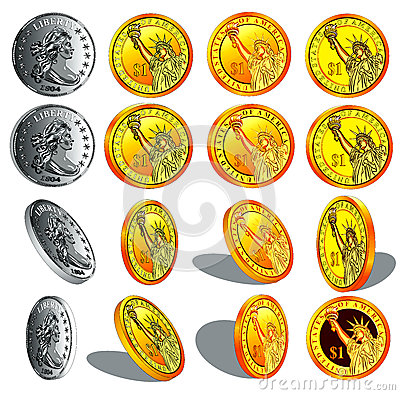realistic gold and silver coins