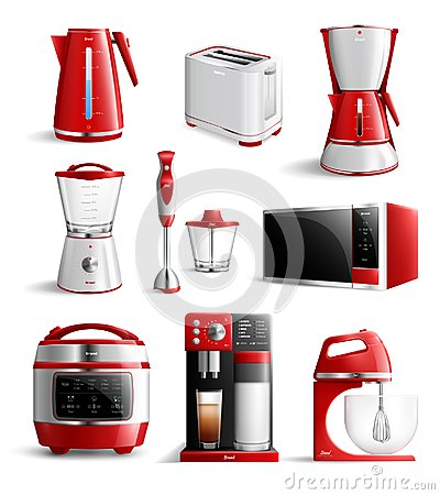 Free Realistic Household Kitchen Appliances Icon Set Stock Photo - 117220560