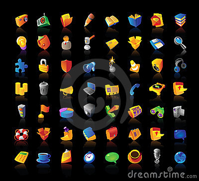 Realistic icons set on black background