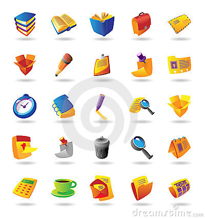 Realistic icons set for office themes