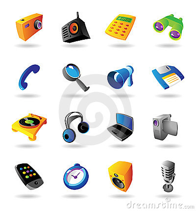 Realistic icons set for various devices
