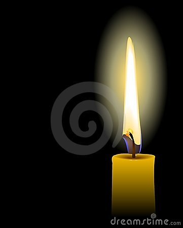 Realistic illustration of yellow candle