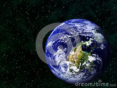 Realistic image of the earth upside down in space