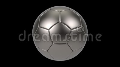 Realistic iron metal soccer ball isolated on black background. 3d looping animation. Football design element stock illustration