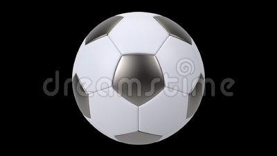 Realistic iron and white soccer ball isolated on black background. 3d looping animation. Football design element vector illustration