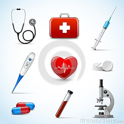 Free Realistic Medical Icons Royalty Free Stock Photo - 39802835