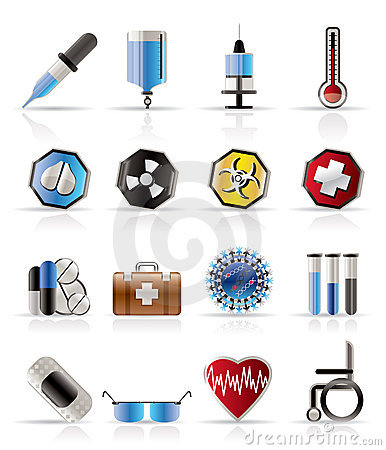 Realistic  medical themed icons and warning