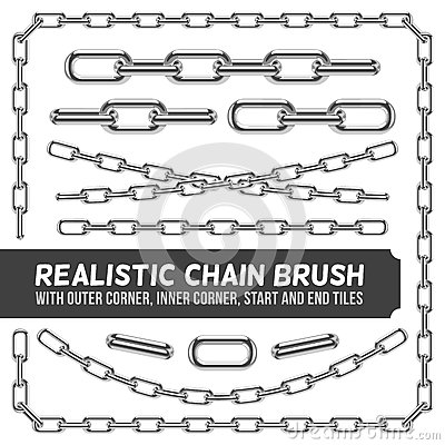 Free Realistic Metal Chain Set, Vector Silver Chains Royalty Free Stock Images - 79346839
