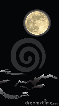 Realistic moon , in a dark night