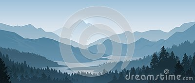 Realistic mountains landscape. Morning wood panorama, pine trees and mountains silhouettes. Vector forest background Vector Illustration