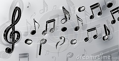 Vector music notes and violin key in realism style isolated on light background. 3d vector notes for design. vector graphics Vector Illustration