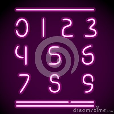 Realistic Neon Alphabet, numbers