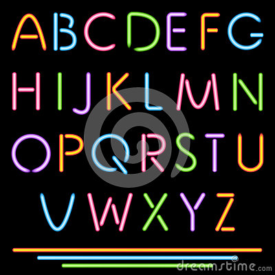 Free Realistic Neon Tube Letters. Alphabet, ABC, Font. Multicolor Stock Images - 34898474